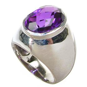 Chunky Amethyst Sterling Silver Ring size N 1/2