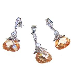 Artisan Stunning Honey Quartz Sterling Silver Set