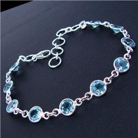 Elegant Blue Topaz Sterling Silver Bracelet