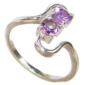 Delightful Amethyst Sterling Silver Ring size M 1/2