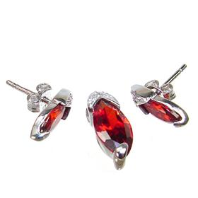 Royal Garnet Quartz Sterling Silver Set
