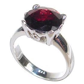 Fabulous Garnet Sterling Silver Ring Size  M 1/2