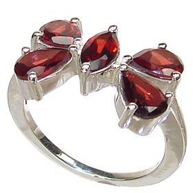 Royal Garnet Sterling Silver Ring Size R