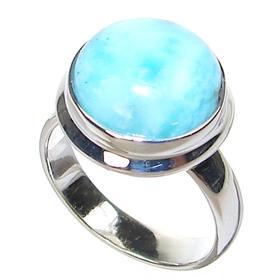 Rare! Larimar Sterling Silver Gemstone Ring size L 1/2