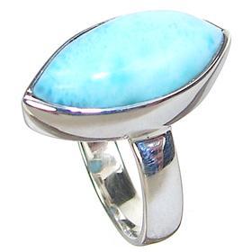 Rare! Larimar Sterling Silver Gemstone Ring size N