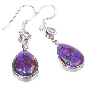 Purple Copper Turquoise Sterling Silver Earrings