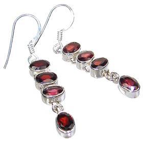 Royal Garnet Sterling Silver Earrings