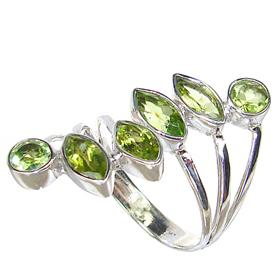 Large Fancy Royal Peridot Sterling Silver Ring size R 1/2