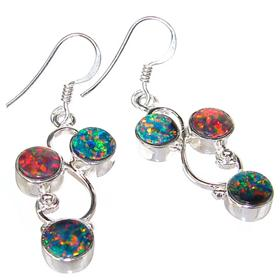 Rare Sparkle Opal Sterling Silver Earrings
