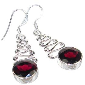Royal Garnet Sterling Silver Earrings