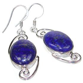 Large Incredible Lapis Lazuli Sterling Silver Earrings