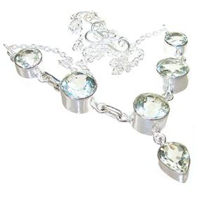 Green Amethyst Sterling Silver Necklace 18 Inches Long