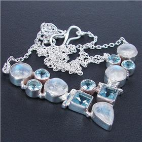 Marvelous Blue Topaz Sterling Silver Necklace 16 inches long