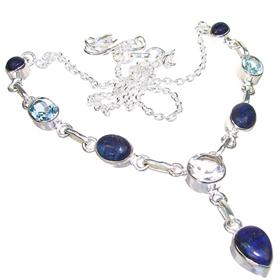 Lazuli Sterling Silver Necklace 18 inches long