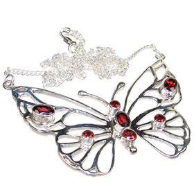 Elegant Garnet Sterling Silver Necklace 16 inches long
