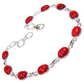 Carnelian Agate Sterling Silver Bracelet