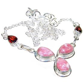 Marvelous Rhodochrosite Sterling Silver Necklace 18 inches long
