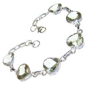 Green Amethyst Sterling Silver Bracelet