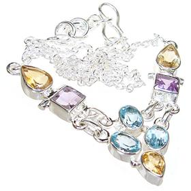 Artisian Multigem Sterling Silver Necklace 17 inches long