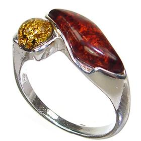 Honey Amber Sterling Silver Gemstone Ring size P 1/2