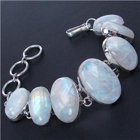 Chunky Rainbow Moonstone Sterling Silver Bracelet