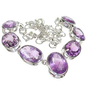 Chunky Royal Amethyst Sterling Silver Necklace 19 inches long