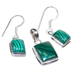Malachite Sterling Silver Gemstone Set