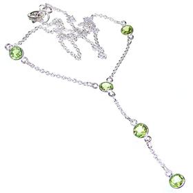 Elegant Peridot Sterling Silver Necklace 17 inches long