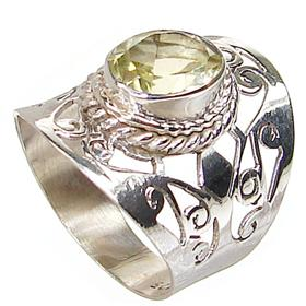 Fancy Royal Citrine Sterling Silver Ring size N 1/2