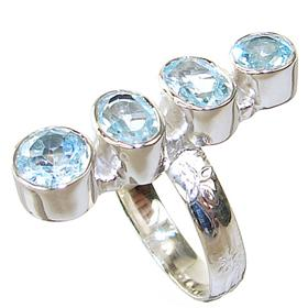 Blue Topaz Sterling Silver Ring size N 1/2