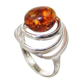 Honey Amber Sterling Silver Gemstone Ring size M 1/2