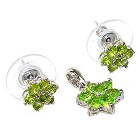 Gallant Spring Peridot Quartz Sterling Silver Set