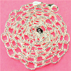 Oval Drop Sterling Silver Chain 18 inches long