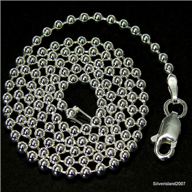 Beads Sterling Silver Chain 18 inches