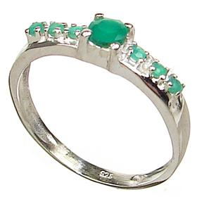 Created Emerald Sterling Silver Ring size Q