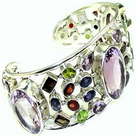 Multigem Sterling Silver Bangle Bracelet Jewellery