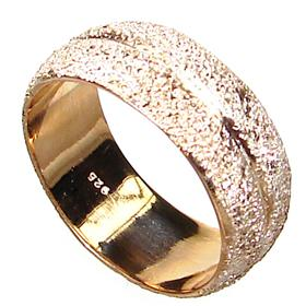 Plain Sterling Silver Gold plated Ring size P 1/2