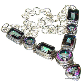 Mystic Topaz  Sterling Silver Necklace 16""
