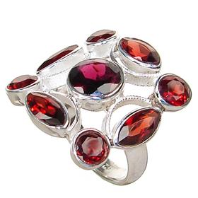 Large Royal Garnet Sterling Silver Ring Size P