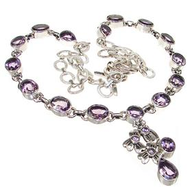 Chunky Royal Amethyst Sterling Silver Necklace 20 inches long