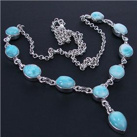 Rare Larimar Sterling Silver Necklace 20 inches long