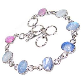 Multi-Colour Moonstone Sterling Silver Bracelet