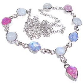 Elegant Moonstone Sterling Silver Necklace 20 inches long