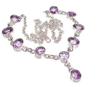 Marvelous Royal Amethyst Sterling Silver Necklace 20 inches long