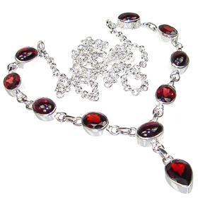 Elegant Garnet Sterling Silver Necklace 19 inches long