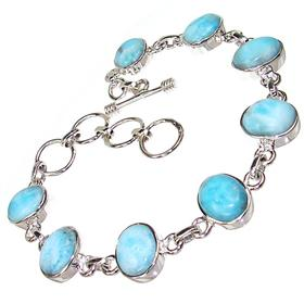 Charming Larimar Sterling Silver Bracelet