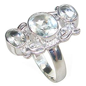 Green Amethyst Sterling Silver Ring size P 1/2