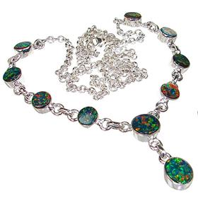 Sparkle Opal Sterling Silver Necklace 20 inches long