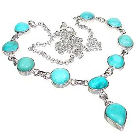 Amazing Turquoise Sterling Silver Necklace 20 inches long