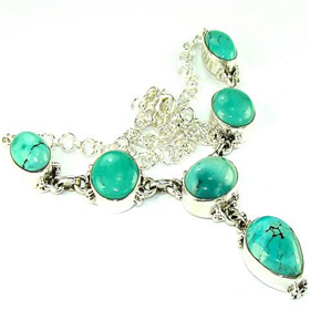 Turquoise Sterling Silver Necklace. Silver Gemstone Pendant.